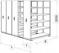 Archivsystem 4 Wagen für 560-760 Ordner