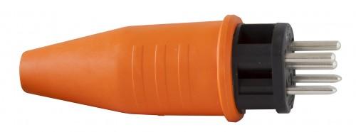 Schutzkontakt-Gummistecker T 15 IP 44, 5 Pole / 400 V / 10 A - VE= 2 Stück