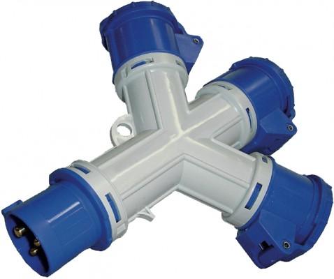 3 - Fach Verteiler, 3 Pole CEE, IP44 / 230 V / 16 A
