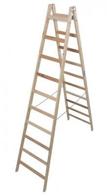 Stabilo® Professional Sprossen-Doppelleiter Holz - Arbeitshöhe 4.05 m - 2 x 10 Stufen
