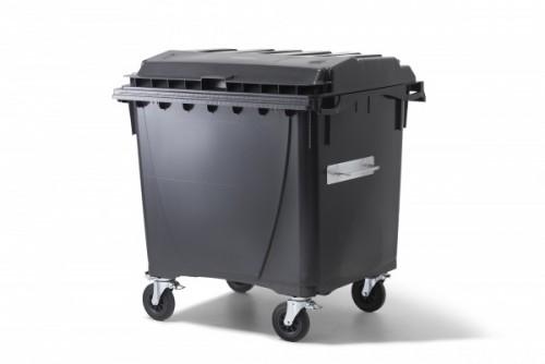 1100 Liter Kunststoffcontainer Anthrazit mit 4 Lenkrollen davon 2 mit Bremse
