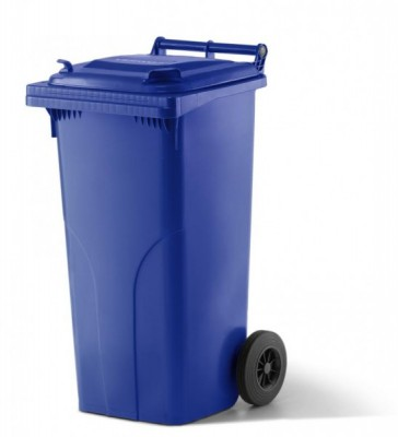 120 Liter Kunststoffbehälter mit Deckel - Blau