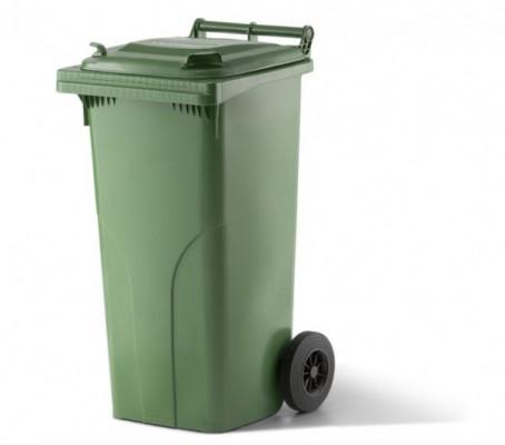 120 Liter Kunststoffbehälter mit Deckel - Grün