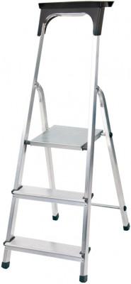 Haushaltsleiter Aluminium 1x3 Stufen mit Arbeitsschale