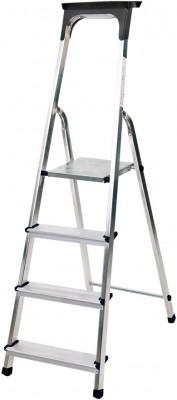 Haushaltsleiter Aluminium 1x4 Stufen mit Arbeitsschale