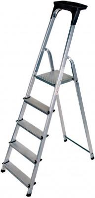 Haushaltsleiter Aluminium 1x5 Stufen mit Arbeitsschale