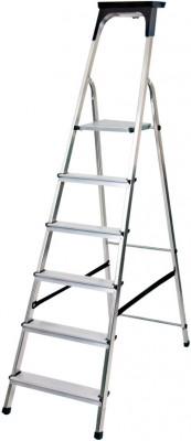 Haushaltsleiter Aluminium 1x6 Stufen mit Arbeitsschale