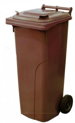 120 Liter Kunststoffbehälter mit Deckel - Braun