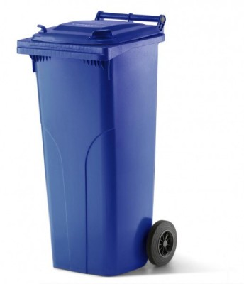 140 Liter Kunststoffbehälter mit Deckel - Blau