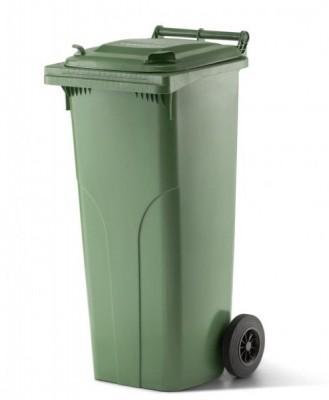 140 Liter Kunststoffbehälter mit Deckel - Grün