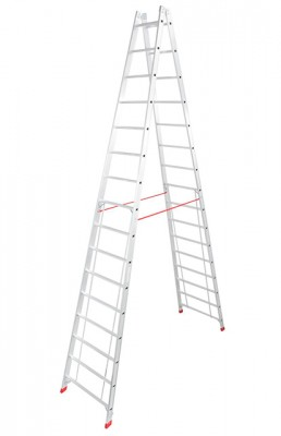 Stabilo® Professional Sprossen-Doppel-Leiter - Aluminium - Arbeitshöhe 5.75 m - 2 x 16 Sprossen