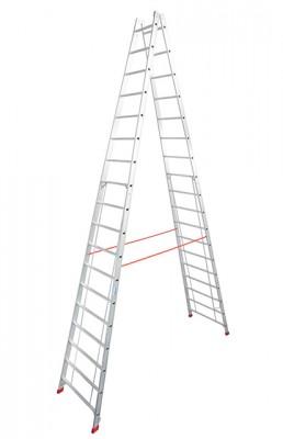 Stabilo® Professional Sprossen-Doppel-Leiter - Aluminium - Arbeitshöhe 6.30 m - 2 x 18 Sprossen