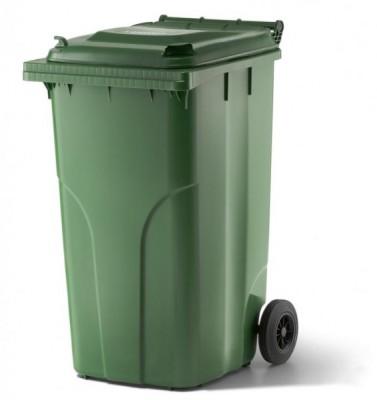 240 Liter Kunststoffbehälter mit Deckel - Grün