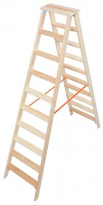 STABILO® Professional Stufen-Doppelleiter Holz, 2 x 10 Stufen