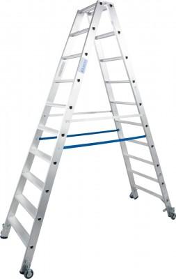 Stabilo® Professional Stufen-Doppelleiter fahrbar, Alu 2 x 10 Stufen
