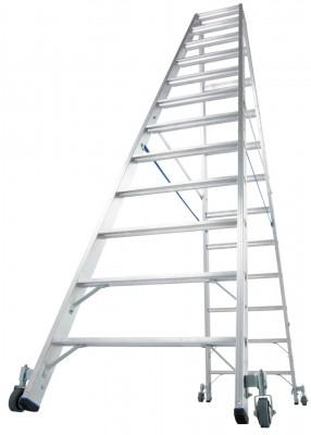 Stabilo® Professional Stufen-Doppelleiter fahrbar, Alu 2 x 12 Stufen