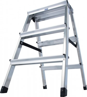 Monto® Stufen-Doppelleiter Dopplo®, Aluminium vernietet, 2 x 3 Stufen