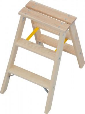 STABILO® Professional Stufen-Doppelleiter Holz, 2 x 3 Stufen
