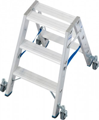 Stabilo® Professional Stufen-Doppelleiter fahrbar, Alu 2 x 3 Stufen