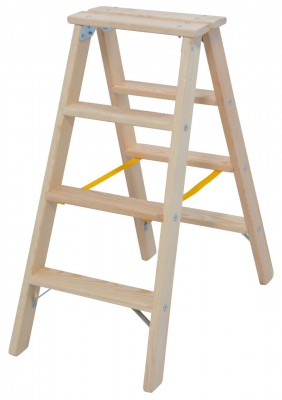 STABILO® Professional Stufen-Doppelleiter Holz, 2 x 4 Stufen