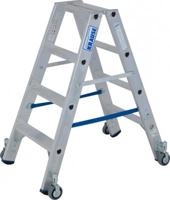 Stabilo® Professional Stufen-Doppelleiter fahrbar, Alu 2 x 4 Stufen