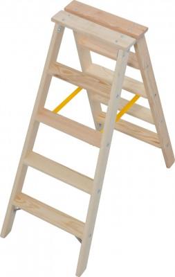 STABILO® Professional Stufen-Doppelleiter Holz, 2 x 5 Stufen