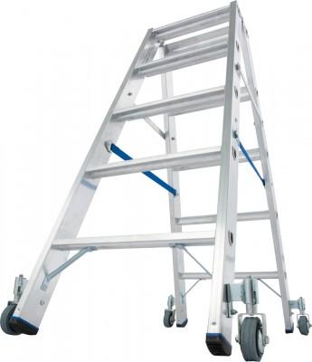 Stabilo® Professional Stufen-Doppelleiter fahrbar, Alu 2 x 5 Stufen
