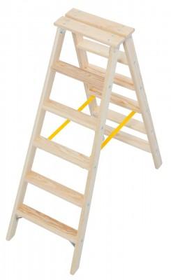 STABILO® Professional Stufen-Doppelleiter Holz, 2 x 6 Stufen