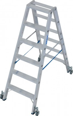 Stabilo® Professional Stufen-Doppelleiter fahrbar, Alu 2 x 6 Stufen