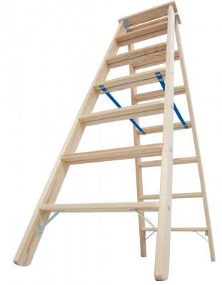 STABILO® Professional Stufen-Doppelleiter Holz, 2 x 7 Stufen