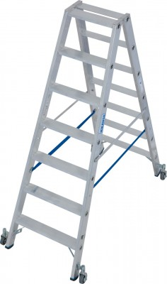 Stabilo® Professional Stufen-Doppelleiter fahrbar, Alu 2 x 7 Stufen