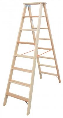 STABILO® Professional Stufen-Doppelleiter Holz, 2 x 8 Stufen