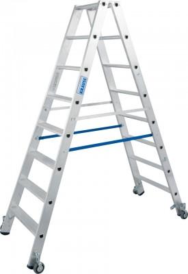 Stabilo® Professional Stufen-Doppelleiter fahrbar, Alu 2 x 8 Stufen