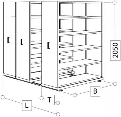 Archivsystem 3 Wagen komplett für 420 Ordner - T x L 600x2600 mm