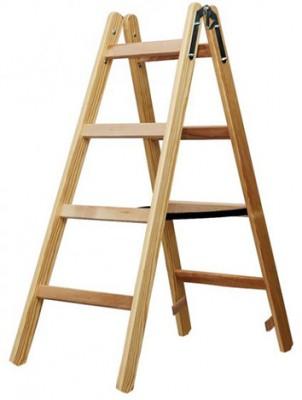 Holz-Stehleiter 2 x 4 Sprossen - Höhe 105 cm / Eimerhaken