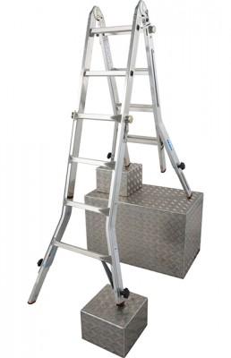 Monto® Sprossen-Gelenk-Teleskopleiter mit 4 Holmverlängerungen TeleVario® - Arbeitshöhe 5.00 m - 4 x 4 Sprossen