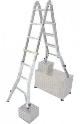 Stabilo® Professional Sprossen-Gelenk-Teleskopleiter mit 4 Holmverlängerungen - Arbeitshöhe 5.00 m - 4 x 4 Sprossen