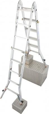 Monto® Sprossen-Gelenk-Teleskopleiter mit 4 Holmverlängerungen TeleVario® - Arbeitshöhe 6.05 m - 4 x 5 Sprossen