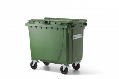 660 Liter Kunststoffcontainer Grün mit 4 Lenkrollen davon 2 mit Bremse