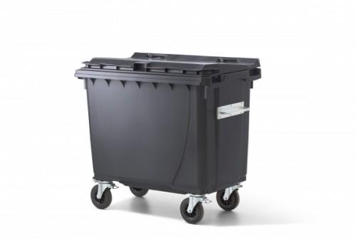 660 Liter Kunststoffcontainer Anthrazit mit 4 Lenkrollen davon 2 mit Bremse