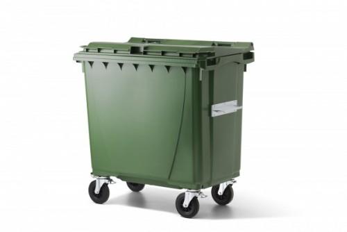 770 Liter Standard Kunststoffcontainer Grün mit 4 Lenkrollen davon 2 mit Bremse