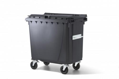 770 Liter Standard Kunststoffcontainer Anthrazit mit 4 Lenkrollen davon 2 mit Bremse