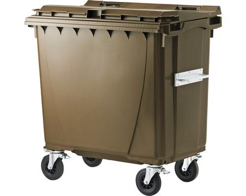 660 Liter Kunststoffcontainer Braun mit 4 Lenkrollen davon 2 mit Bremse