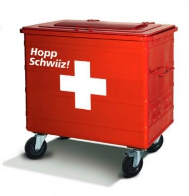 "800 Liter Standard Stahl/-Werbecontainer ""Hopp Schwiiiz!"