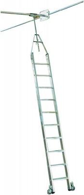 Stufen-RegalLeiter Doppelregal, Rundrohr-Schienenanlage, Aluminium Stabilo® Professional - 6 Stufen