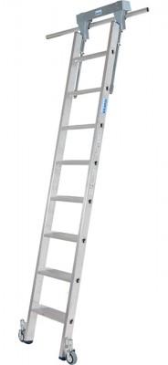 Stabilo® Professional Stufen-Regalleiter Rundrohr-Schienenanlage - Arbeitshöhe 3.15 m - 1 x 8 Stufen