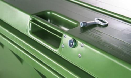 Dreikantschloss für Kunststoffcontainer inkl. 1 Schlüssel - montiert