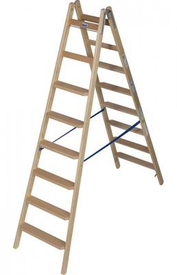 Stabilo® Professional Stufen/Sprossen-Doppelleiter Holz - Leiterlänge 2.25 m - 2 x 8 Stufen/Sprossen