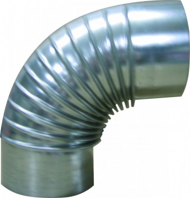 Kaminrohr-Bogenstück 90° aus verzinktem Stahlblech Ø 150 mm