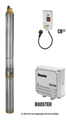 DAB Micra 100 M mit Kabel und Booster - Unterwasserpumpe für Druckerhöhung - 2700 l/h - Fh 90.0 m - 9.0 bar - 1.2 kW - 1 x 230 V